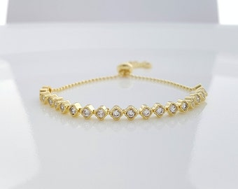 Gold Wedding Bracelet, Gold Bridal Bracelet, Bridesmaid Bracelet, Delicate Bracelet, CZ Bangle Bracelet, Bella Bracelet