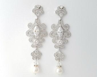 Long Bridal Earrings Crystal Chandelier Wedding Earrings Cubic Zirconia Pearl Drop Earrings Wedding jewelry, Katherine Earrings