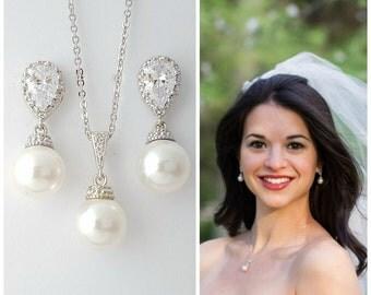 Pearl Wedding Jewelry Set, Bridal Earings Pendant Set, Swarovski Pearl Drop Earrings, Bridesmaid Jewelry Set, Rose Gold, Gold, Ava