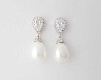 Pearl Earrings Bridal Jewelry Cubic Zirconia Bridal Earrings Silver White Pearl Drops Wedding Jewelry, Skylar