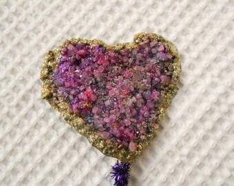 Crystal Heart Cake topper Purple Gold Glitter Wedding Engagemnet anniversary