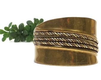 vintage 70s wide brass cuff band bracelet copper silver detail twisted rope men women jewelry fashion slave accessories masculine oversize