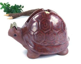 vintage 70's turtle figurine tape dispenser cutter dark brown collectible decorative home decor retro animal woodland creature shell cute