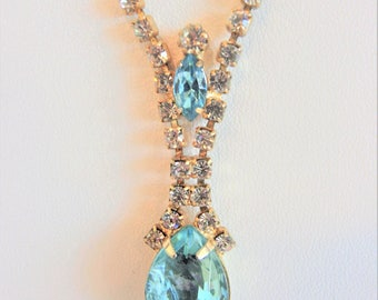 Pretty Vintage Blue Faceted Glass Rhinestone Necklace