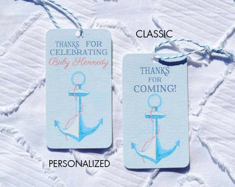 Printable Anchor Baby Shower Favor Tags - Classic and Personalized Options