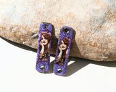 2 charms  brass and paper - for jewel creations  for earrings necklace or bracelet Poppy In The Sky purple retro portrait woman