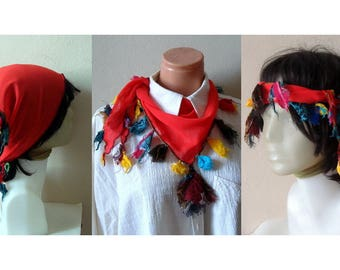 Red Neck Scarves Bandanas, Head Wraps Chiffon mini scarf, multi-function scarf, women scarf, Triangle neckerchief