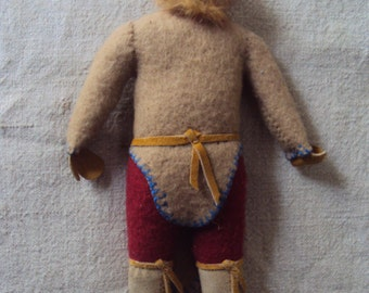 Vintage 1940s 1950s Handmade Alaskan Inuit Eskimo Doll Dressed in Wool and Leather with Fir Trim