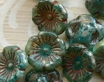 Antiqued Buttons,Renaissance Buttons,Renaissance Buttons,Emerald Green Picasso Buttons,Czech Button,12mm glass,#1692B