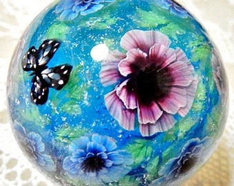 Pink & Blue Double Poppy Anemone Flower with Butterfly Satake Glass Lampwork Flower Marble sra