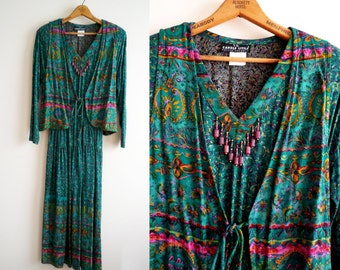Vintage Carole Little Elastic Waist Tiered Beaded Boho Dress with Vest 8 Petite, SALE