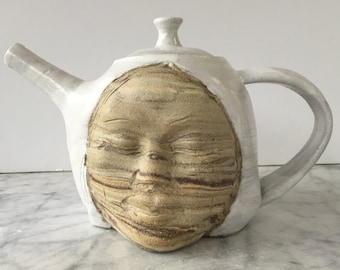 Teapot face sculpture art pottery marbled stoneware agateware dream vessel surreal head pot