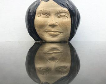Face vase portrait head planter sculpture bust, ceramic vessel, ikebana pot smile