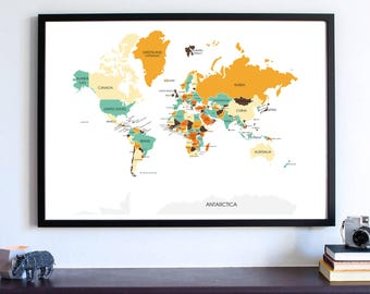 World Map Wall ART PRINT, Gift for him, gift for her, office decor, home decor, statement, Kitchen decor