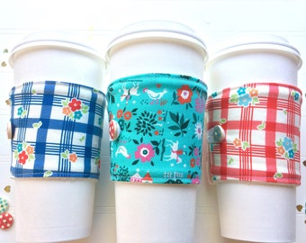 Coffee Cup Cozy, Coffee Cup Sleeve, Cup Cozy, Cup Sleeve, Reusable Coffee Sleeve - Road Trip / Farm Fresh  [89-91]