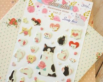 LOVELY HEART Choo Choo Marshmallow Sticker Ver 2 Cat puffy cartoon stickers