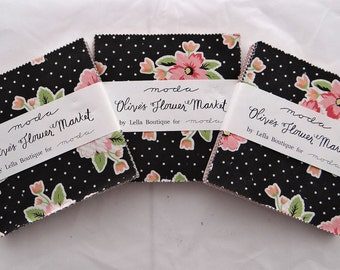 "OLIVES FLOWER MARKET Moda fabric charm packs (3) Lella Boutique sewing quilting maker polka dots patchwork 5"" squares Vanessa Goertzen"