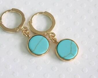 Turquoise Imitation Earrings, Dangle Earrings, Round Charm Earrings, Small Dangle Earrings, Blue Glass Earrings, Everyday Earrings