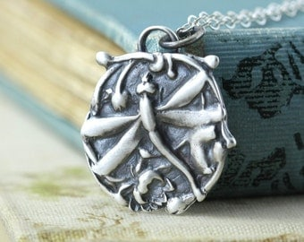 Dragonfly Necklace Lotus Necklace Silver Wing Pendant Art Nouveau Jewelry Fairy Sterling Silver, Rustic Artisan Jewelry Butterfly Bohemian