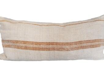 Large Vintage French Grainsack Striped 19x38 Lumbar Pillow
