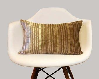 "Shimmer Textured Stripe Lumbar Pillow Cover, 12"" x 18"" Pillows, Kidney Pillows, Taupe Color Pillows, Modern Home Decor"