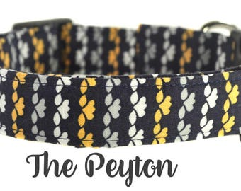 """Navy and Yellow Floral Dog Collar """"The Peyton"""""""