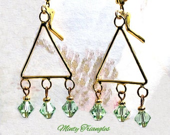 Minty Triangles- OOAK earrings, Swarovski crystal earrings, chandelier earrings, gift for her, handmade earrings, beaded earrings, green