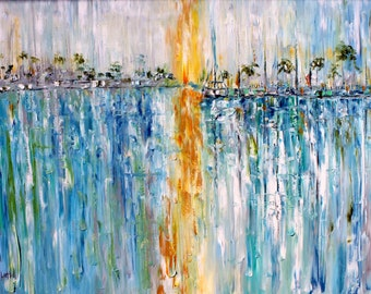 Abstract Original oil painting - Boats at Last Light - Teal grey green gold palette knife impressionism on canvas fine art by Karen Tarlton