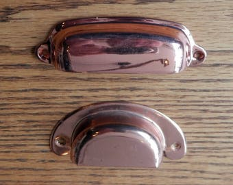 polished copper over brass bin pulls