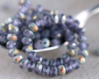 Matte Light Violet Rondelle Beads, Czech Glass beads, Fire Polished beads, faceted glass donut beads, 3X5mm (50pcs) NEW
