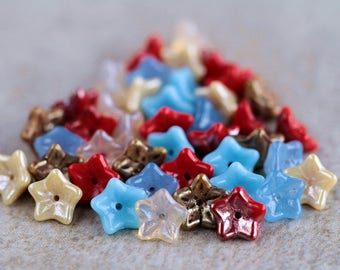 Red, Beige & Blue Glass flower bead mix, Czech glass flower beads, 5-petal Trumpet Flower beads, 6x9mm (42pcs) NEW