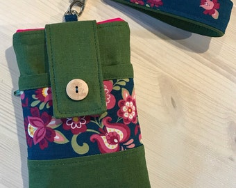 Phone Case with Wristlet and/or Shoulder Strap - Satchel - Olive Green Hot Pink and Teal Floral -  iPhone Samsung Android