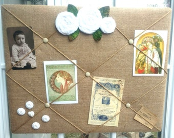 Inspiration Board, Bulletin Board, Idea Board, Notice Board With Handcrafted Flowers and Ephemera