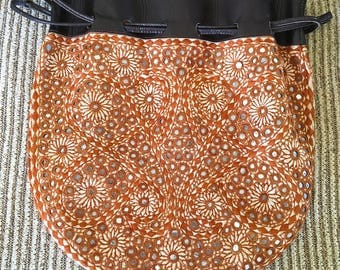 Vintage Boho Mirrored Leather Bag 1960s-70s Purse