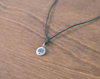 Tree of Life Wish Necklace - 925 Sterling Silver & Your Choice of Silk Color