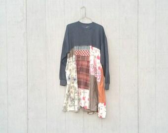 Gray Sweatshirt | Dress Grey | Upcycled Tunic | Patchwork Tunic | Upcycled Clothing | Cottage | Winter Dress | Eco Clothing by CreoleSha