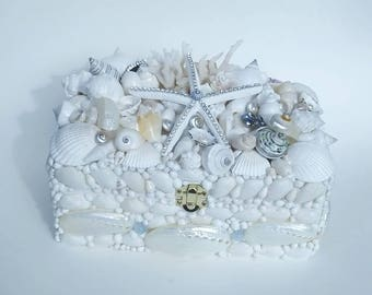 Seashell Box, Rhinestone Pencil Starfish, Wedding, Vintage Jewelry