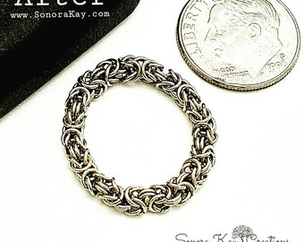 Byzantine Chainmaille Weave Ring. Custom Made to Order.  Drop shipping, and upgrade to priority  available.