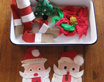 Vintage Christmas Felt Santa Light Switch Covers Shelf Sitter Magnets Pipe Cleaner Poinsettia Tree Lot of 5 Pieces 1950s Christmas