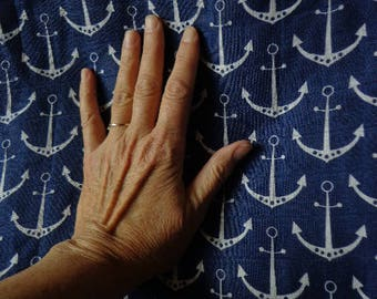 Nautical Themed Fabric, Anchor Pattern, Gauzelike, Remnant Piece, Destash