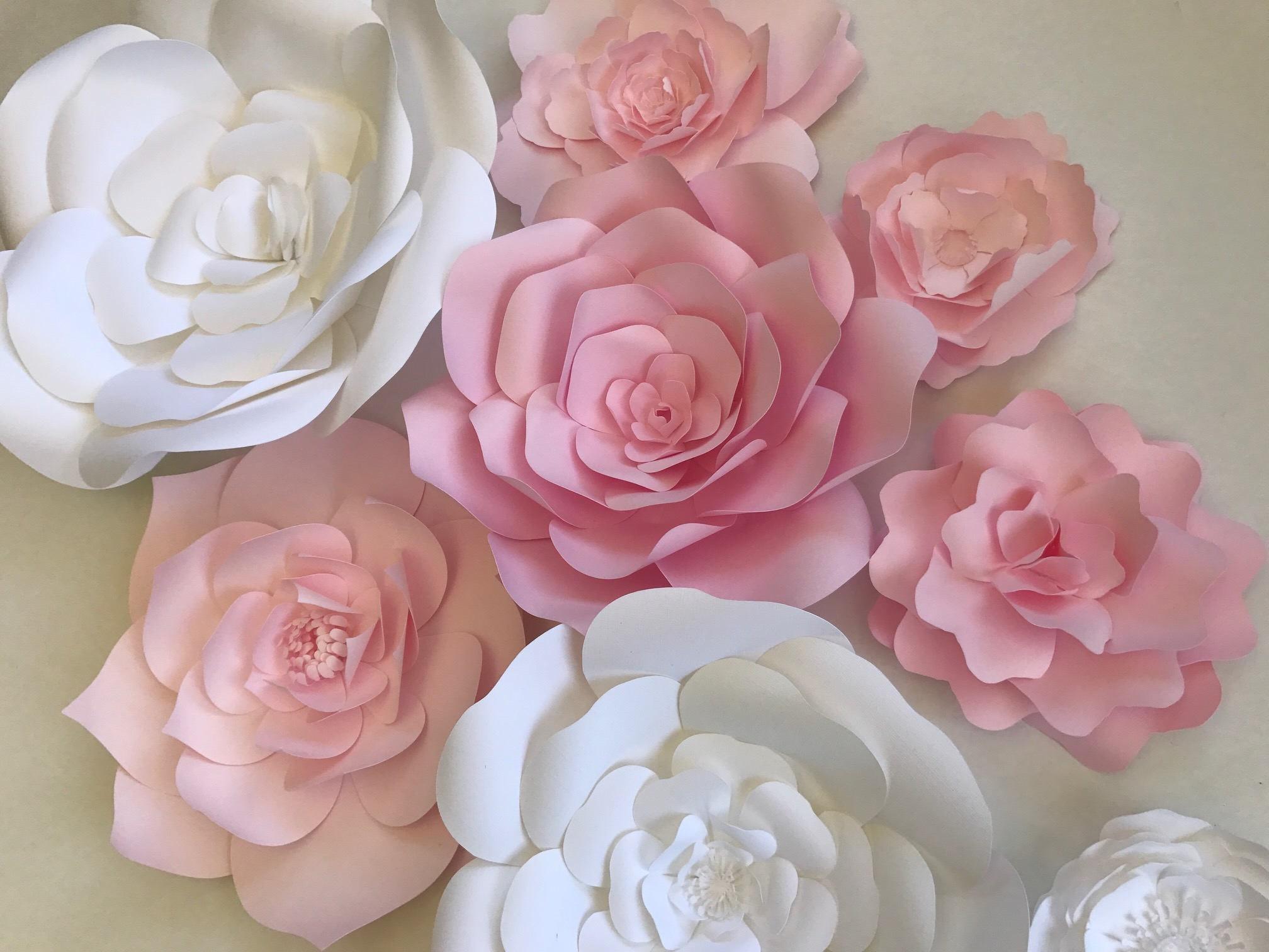 paper flower wall decor nursery wall art pink paper. Black Bedroom Furniture Sets. Home Design Ideas