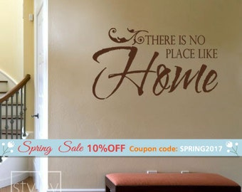 Home Wall Quote Wall Decal, There is no place like Home Vinyl Wall Decal, Home Vinyl Lettering Decal for Living Room Kitchen Decor