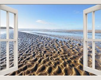 Beach Wall Decal, 3d Window Wall Decal,Sand Wind Waves Window Frame Wall Decal, Sea Window View Wall Mural, Living Room Home Wall Decor