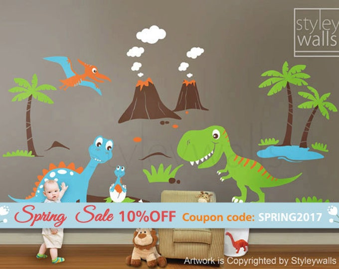 Dinosaurs Wall Decals ,Dino Land Wall decal, Dinosaurs Wall Sticker HUGE Set Children Nursery Kids Playroom Wall Decal Sticker Baby Room