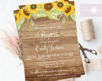 Rustic Baptism Invitation, Christening, LDS Baptism Invite, Baptism Invitation, Printable,Dedication, Confirmation, Sunflower, jadorepaperie