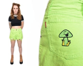 VTG 90s Grunge Lime Green Distressed High Waist Shorts w Silly Mushroom Patch