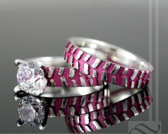 mud tire tread ring with pink inlay sterling silver with cubic zirconia - Mud Tire Wedding Rings
