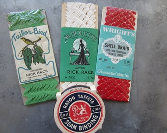 Vintage Seam Binding & Rick Rack Lot New Old Stock Lot of 4 Variety of Colors