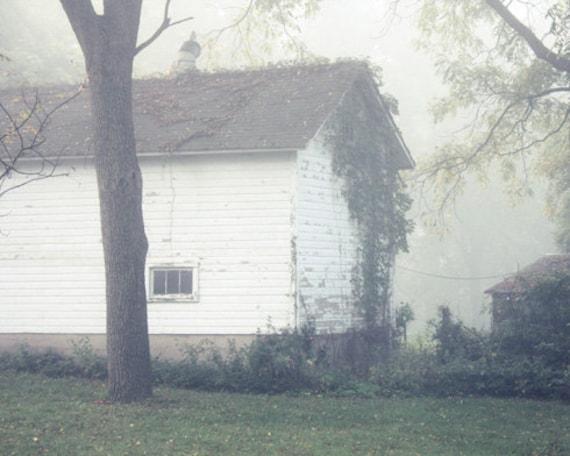 Barn Art, White Barn, Country Barn Decor, Foggy Landscape, Barn Photo, Country Home Decor, Farmhouse Style Decor, Fixer Upper Decor,