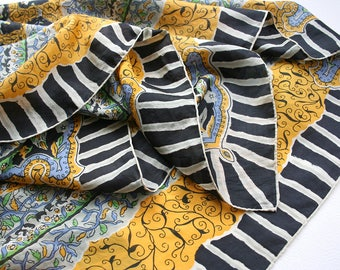 Large mid century silk scarf. Ornate scarf, oversized paisley scarf, floral silk scarf, Glentex scarf, black, white, green, yellow, blue.